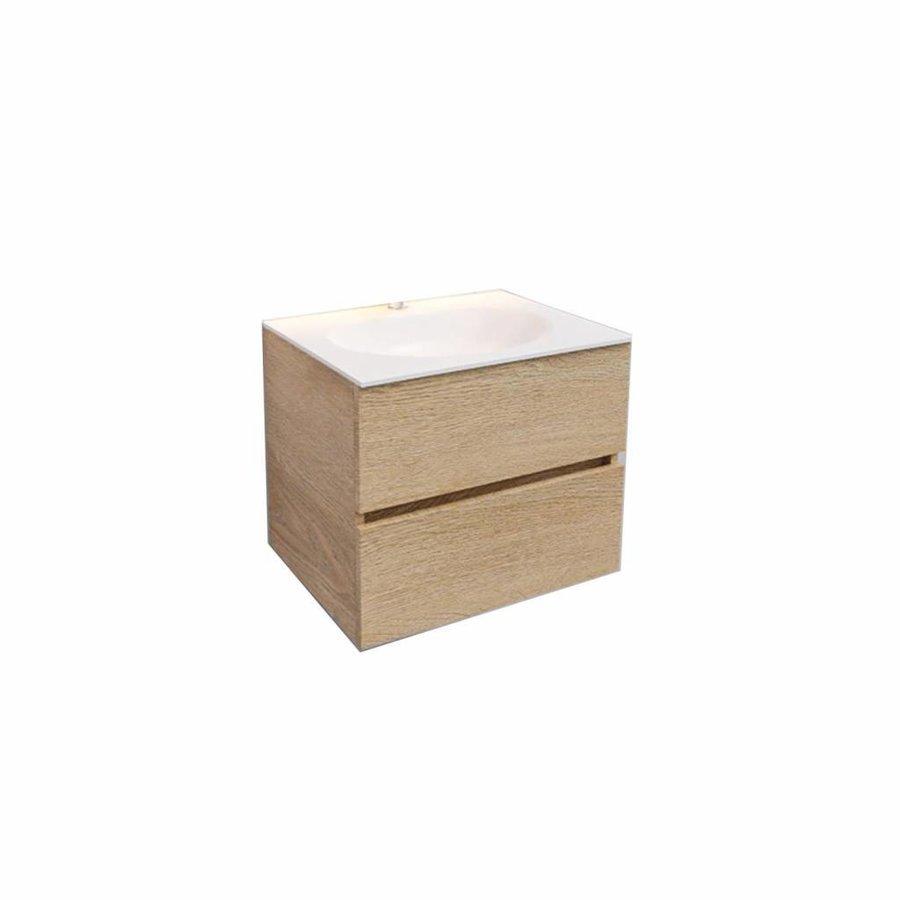 Badkamermeubel Solid Surface AQS Stockholm 60x46 cm Wood Washed Oak (1 kraangat)