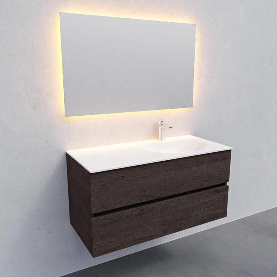 Badkamermeubel Solid Surface AQS Stockholm 100x46 cm Rechts Wood Dark Brown (1 kraangat)