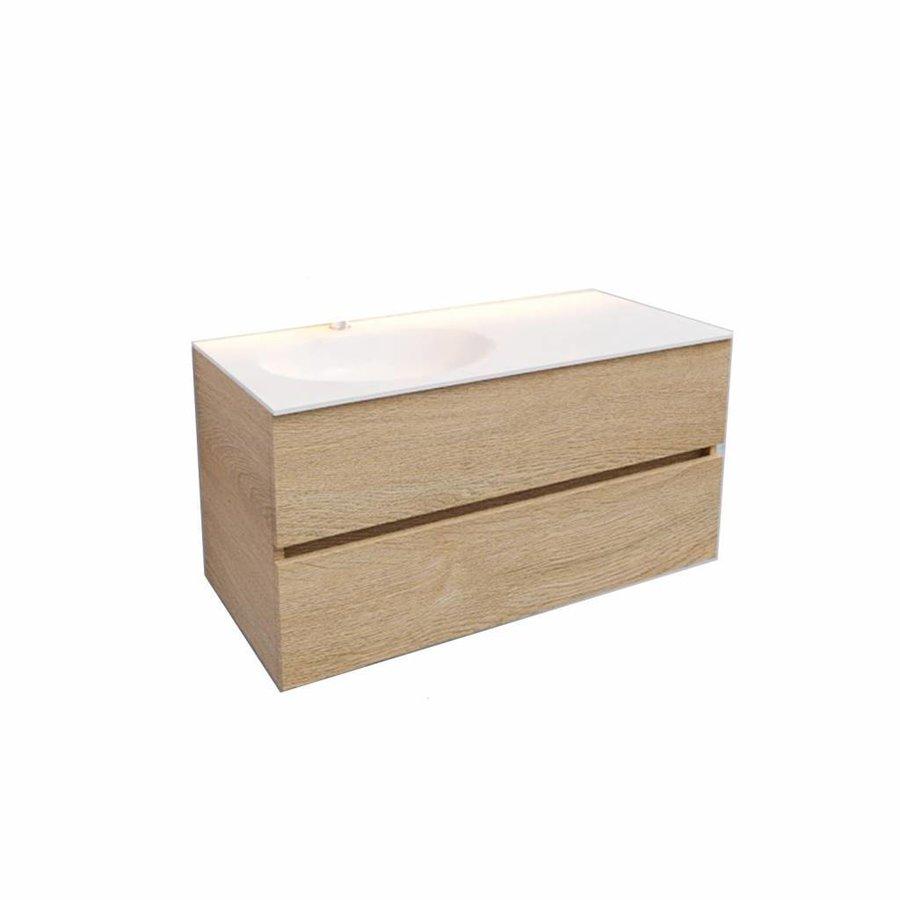 Badkamermeubel Solid Surface AQS Stockholm 100x46 cm Links Wood Washed Oak (1 kraangat)