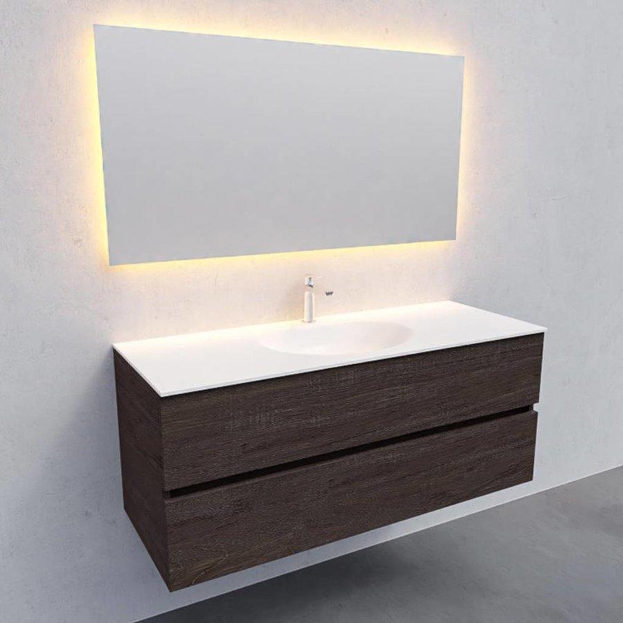 Badkamermeubel Solid Surface AQS Stockholm 120x46 cm Midden Wood Dark Brown (met 1 kraangat)