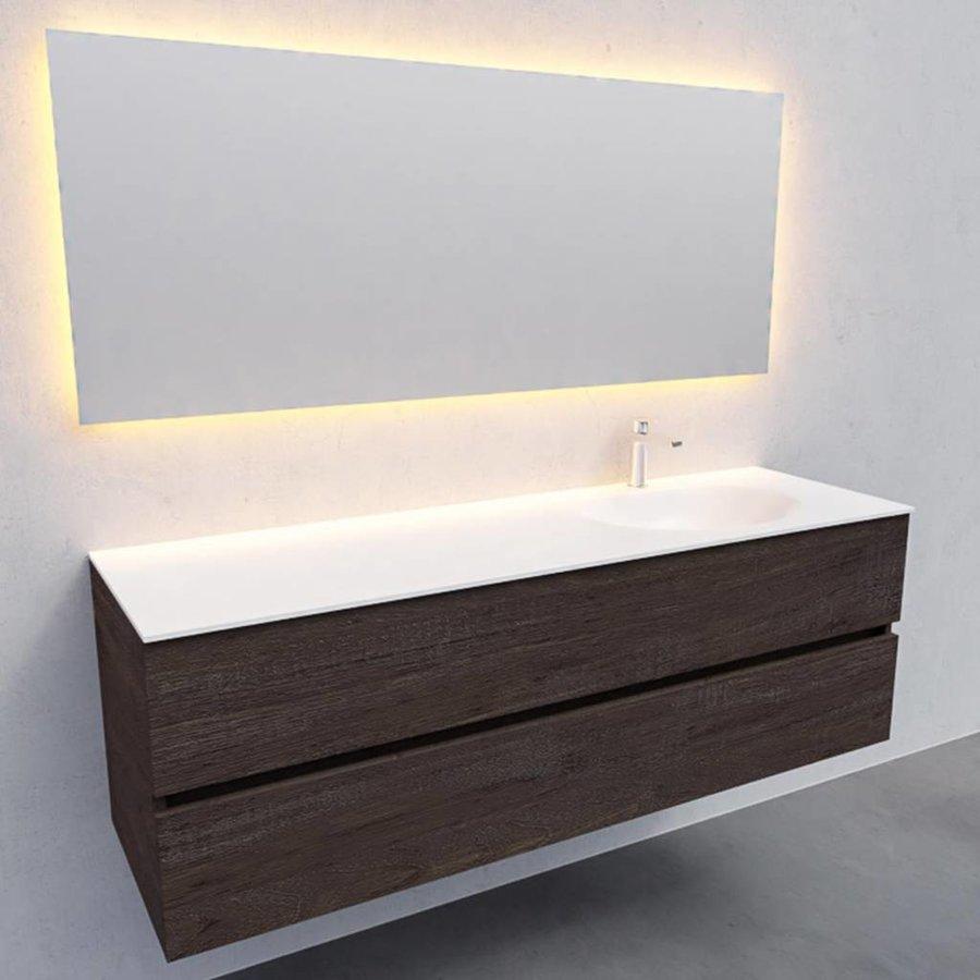 Badkamermeubel Solid Surface AQS Stockholm 150x46 cm Rechts Wood Dark Brown (met 1 kraangat)