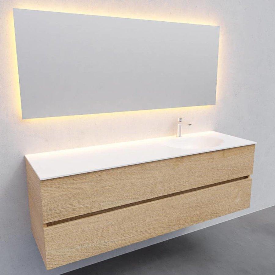Badkamermeubel Solid Surface AQS Stockholm 150x46 cm Rechts Wood Washed Oak (met 1 kraangat)