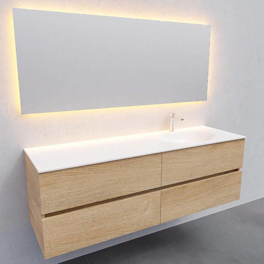 Badkamermeubel Solid Surface AQS Stockholm 150x46 cm Rechts Wood Washed Oak 4 Laden (met 1 kraangat)