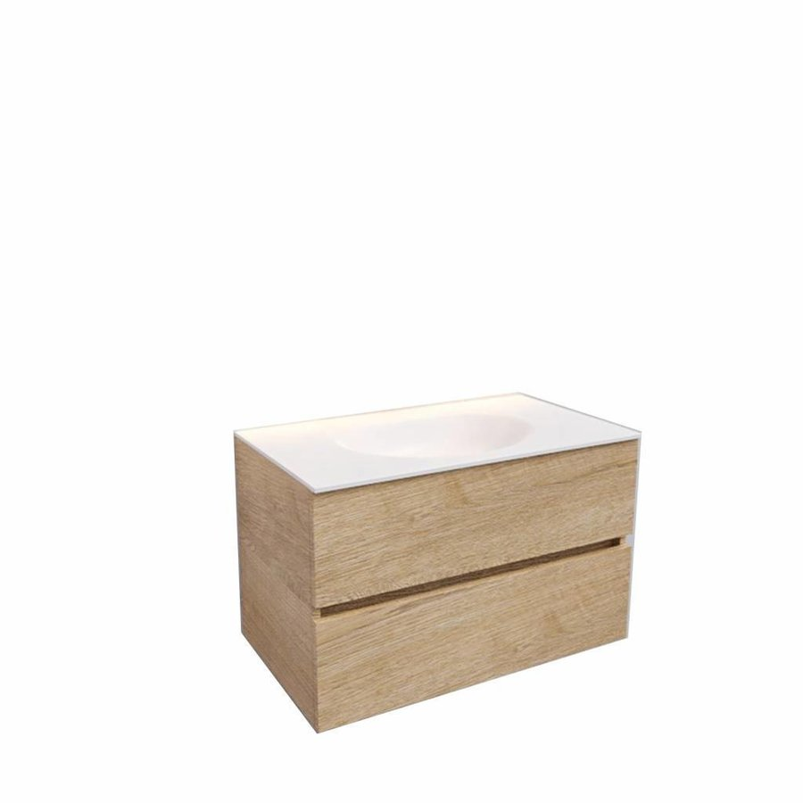 Badkamermeubel Solid Surface AQS Stockholm 80x46 cm Wood Washed Oak (0 kraangaten)
