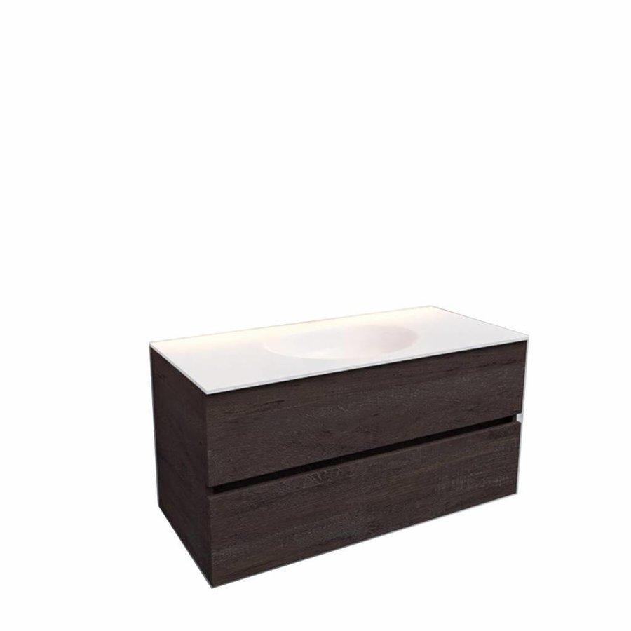 Badkamermeubel Solid Surface AQS Stockholm 100x46 cm Midden Wood Dark Brown (0 kraangaten)