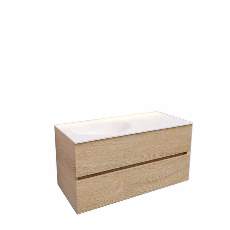 Badkamermeubel Solid Surface AQS Stockholm 100x46 cm Links Wood Washed Oak (0 kraangaten)