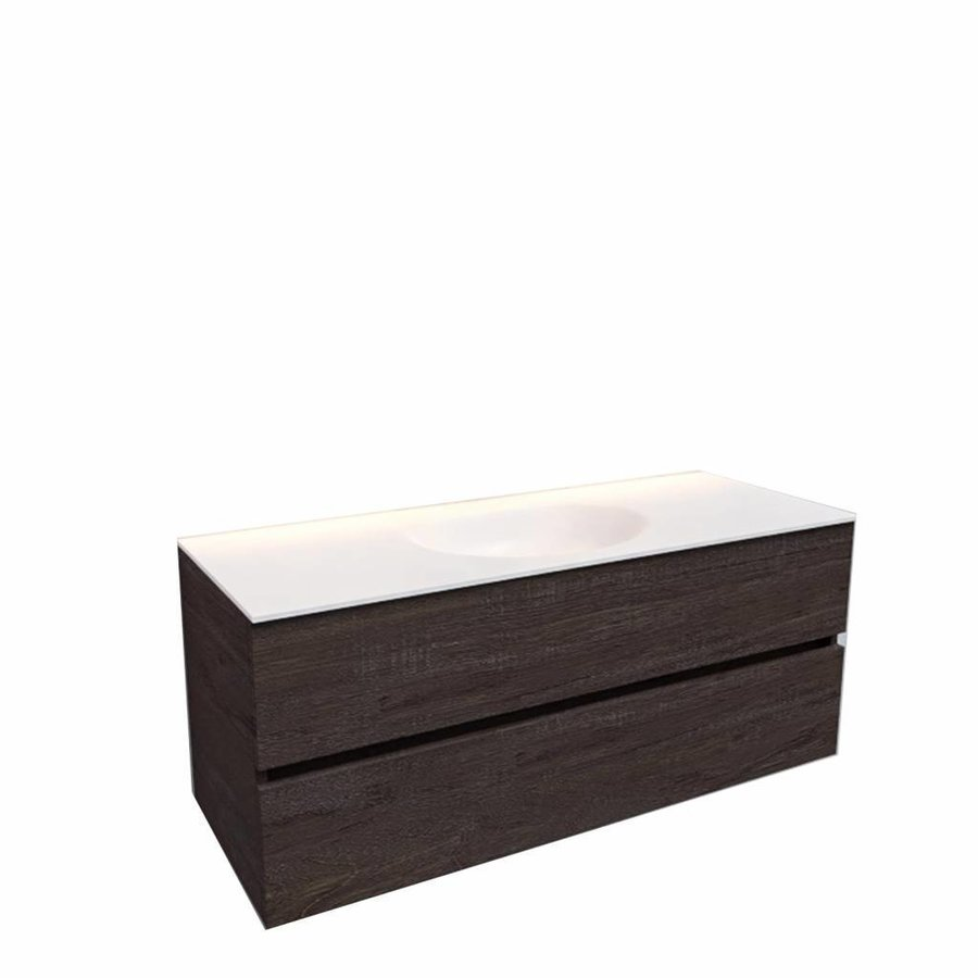 Badkamermeubel Solid Surface AQS Stockholm 120x46 cm Midden Wood Dark Brown (0 kraangaten)