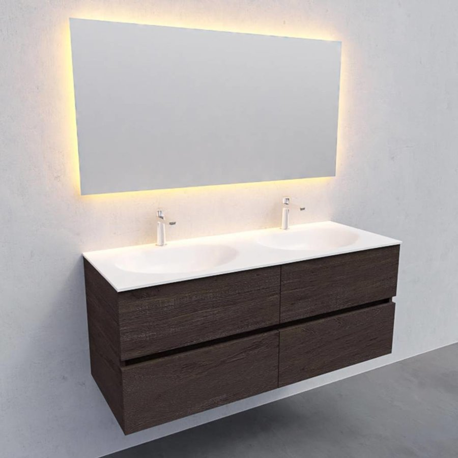 Badkamermeubel Solid Surface AQS Stockholm 120x46 cm Dubbel Wood Dark Brown 4 Laden (2 kraangaten)