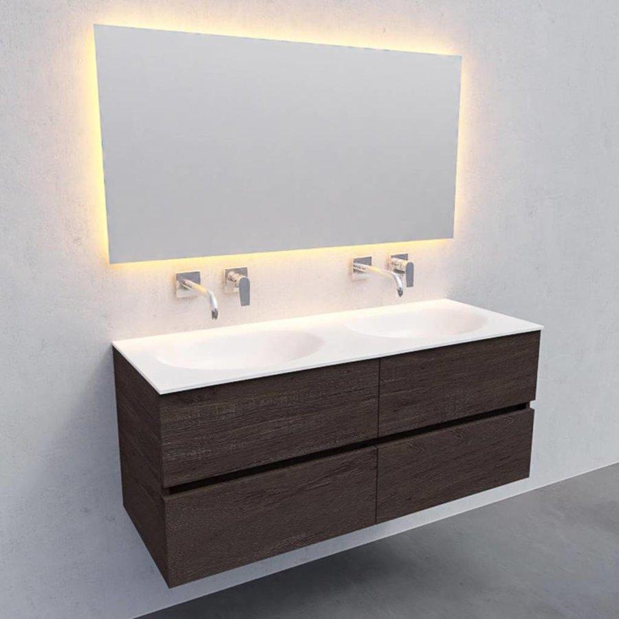 Badkamermeubel Solid Surface AQS Stockholm 120x46 cm Dubbel Wood Dark Brown 4 Laden (0 kraangaten)