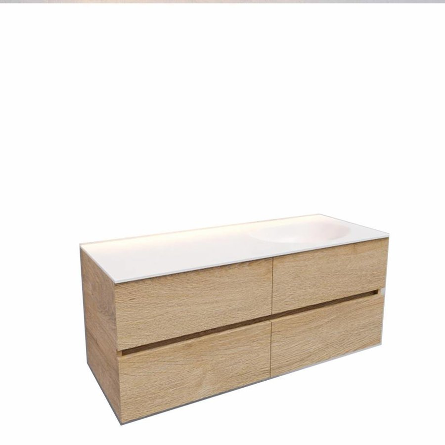 Badkamermeubel Solid Surface AQS Stockholm 120x46 cm Rechts Wood Washed Oak 4 Laden (0 kraangaten)