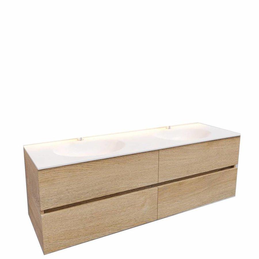 Badkamermeubel Solid Surface AQS Stockholm 150x46 cm Dubbel Wood Washed Oak 4 Laden (2 kraangaten)