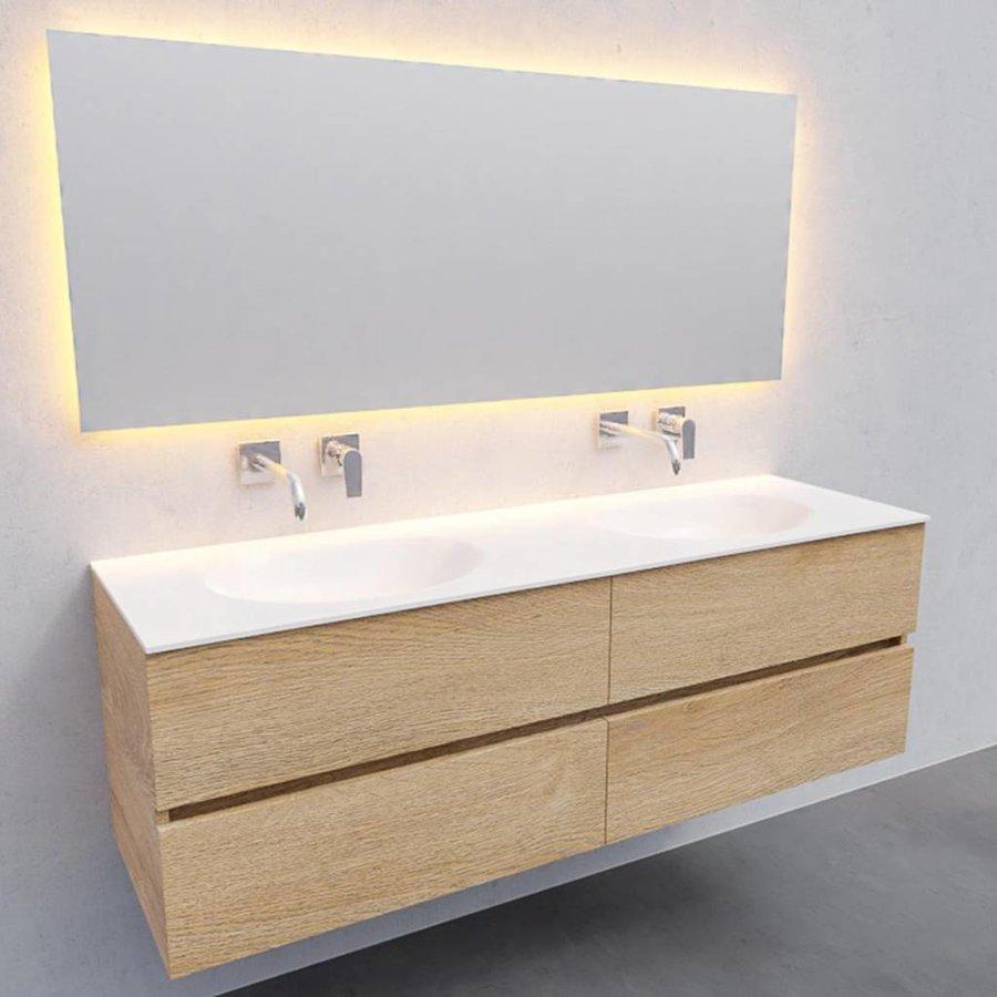 Badkamermeubel Solid Surface AQS Stockholm 150x46 cm Dubbel Wood Washed Oak 4 Laden (0 kraangaten)