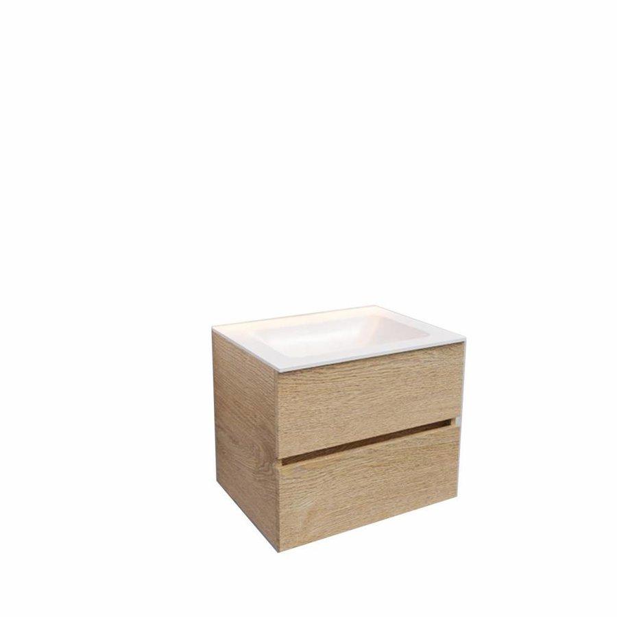 Badkamermeubel Solid Surface AQS Oslo 60x46 cm Wood Washed Oak (0 kraangaten)