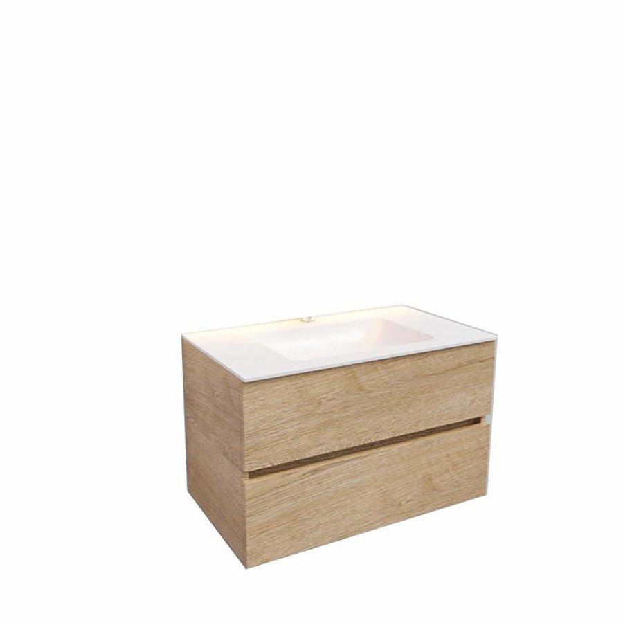 Badkamermeubel Solid Surface AQS Oslo 80x46 cm Wood Washed Oak (1 kraangat)
