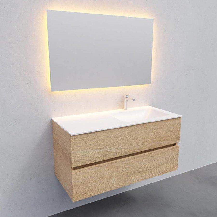 Badkamermeubel Solid Surface AQS Oslo 100x46 cm Rechts Wood Washed Oak (met 1 kraangat)