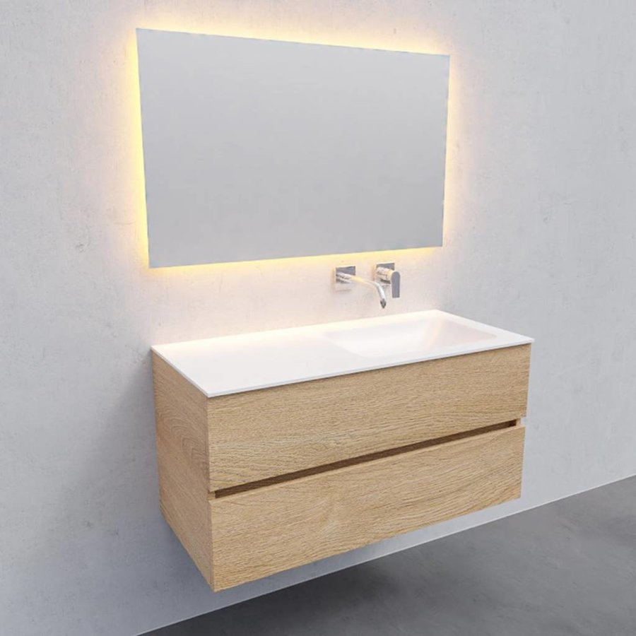 Badkamermeubel Solid Surface AQS Oslo 100x46 cm Rechts Wood Washed Oak (0 kraangaten)