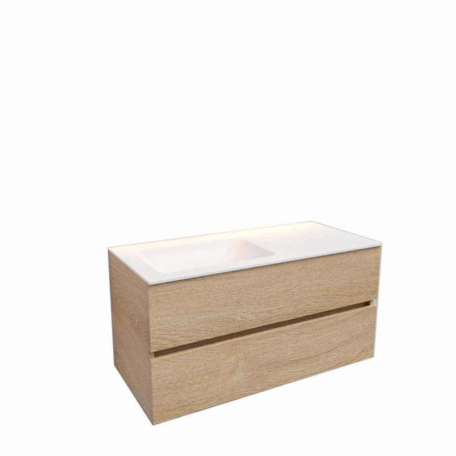Badkamermeubel Solid Surface AQS Oslo 100x46 cm Links Wood Washed Oak (0 kraangaten)