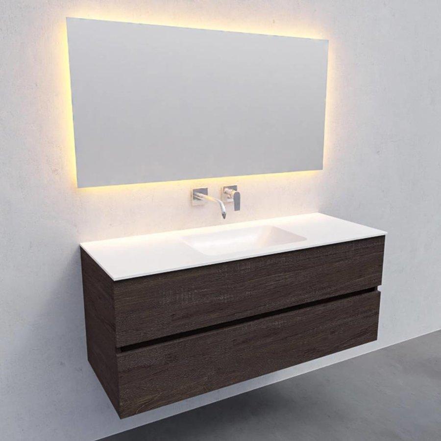 Badkamermeubel Solid Surface AQS Oslo 120x46 cm Midden Wood Dark Brown (0 kraangaten)