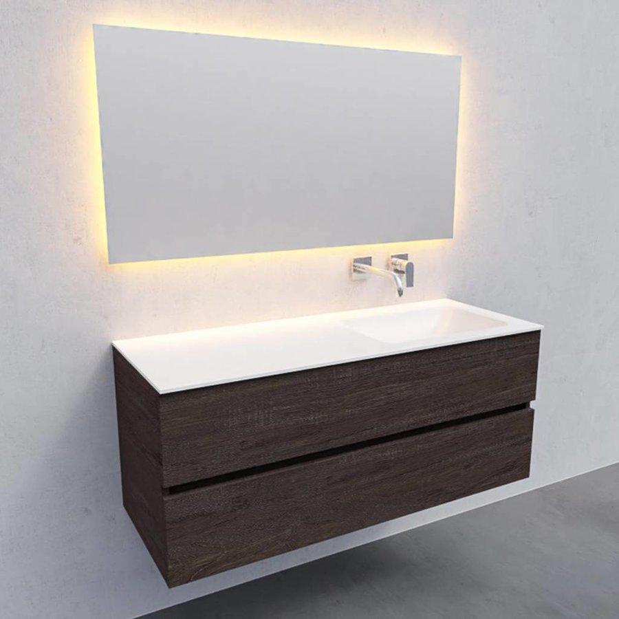 Badkamermeubel Solid Surface AQS Oslo 120x46 cm Rechts Wood Dark Brown (0 kraangaten)