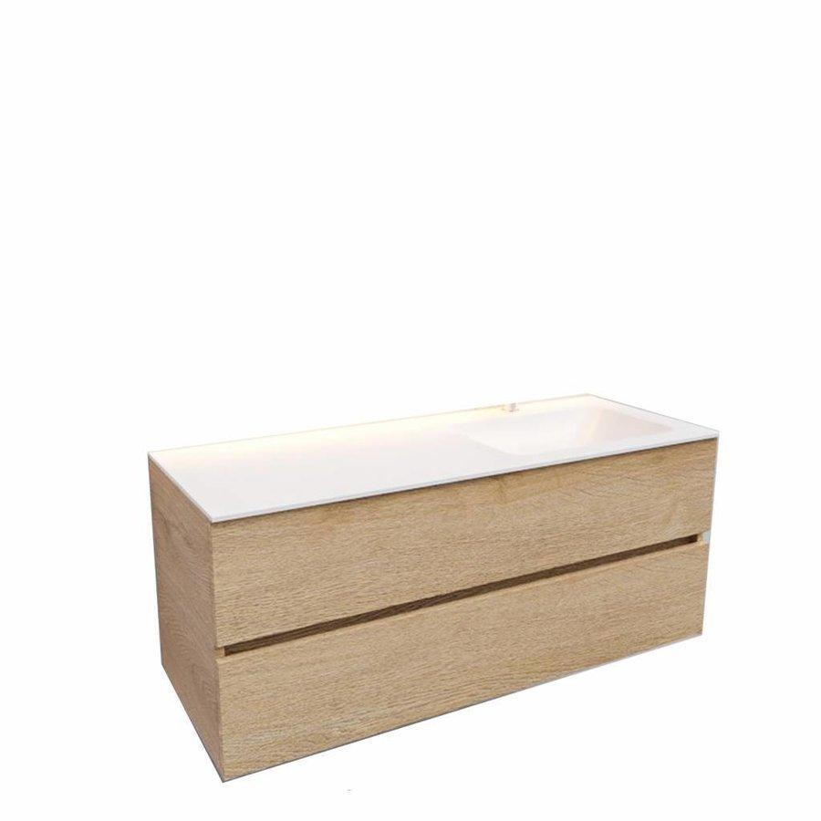 Badkamermeubel Solid Surface AQS Oslo 120x46 cm Rechts Wood Washed Oak (met 1 kraangat)