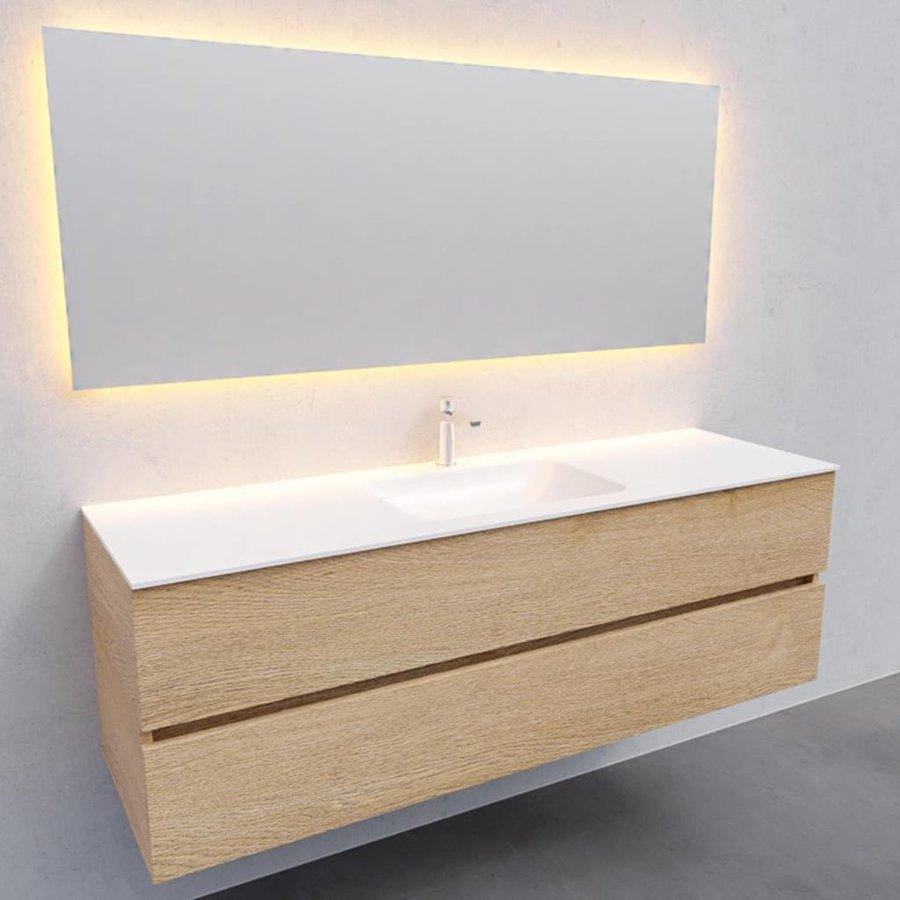 Badkamermeubel Solid Surface AQS Oslo 150x46 cm Midden Wood Washed Oak (met 1 kraangat)