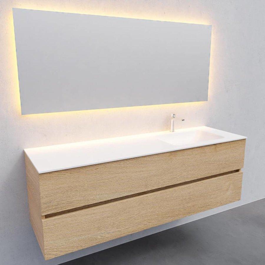 Badkamermeubel Solid Surface AQS Oslo 150x46 cm Rechts Wood Washed Oak (met 1 kraangat)