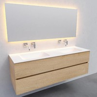 Badkamermeubel Solid Surface AQS Oslo 150x46 cm Dubbel Wood Washed Oak (0 kraangaten)