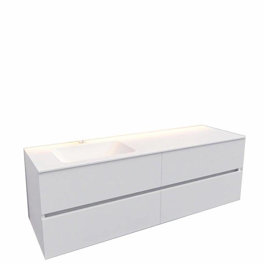 Badkamermeubel Solid Surface AQS Oslo 150x46 cm Links Mat Wit 4 Laden (met 1 kraangat)