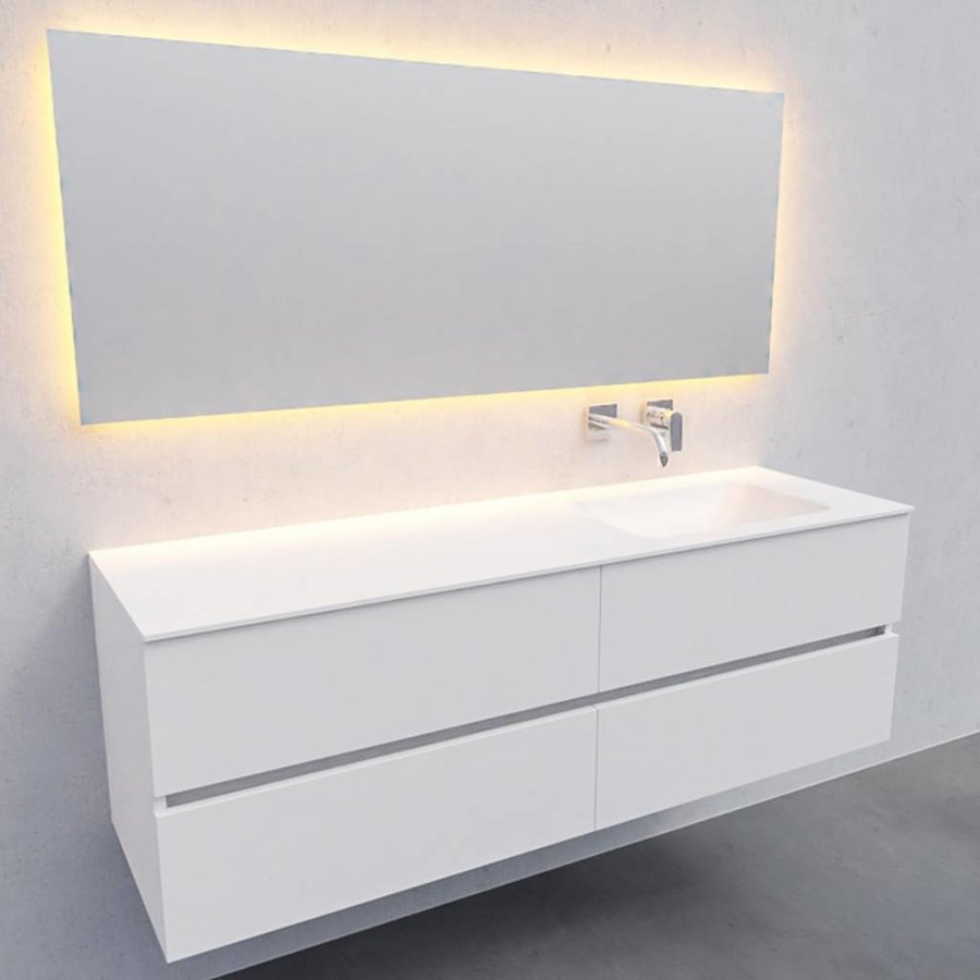 Badkamermeubel Solid Surface AQS Oslo 150x46 cm Rechts Mat Wit 4 Laden (0 kraangaten)