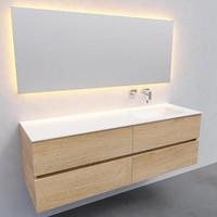 Badkamermeubel Solid Surface AQS Oslo 150x46 cm Rechts Wood Washed Oak 4 Laden (0 kraangaten)