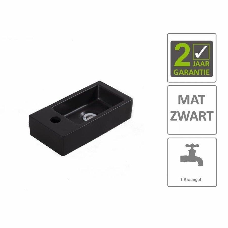 AQS Fontein Rino Mini Links 36x18x9 cm Mat Zwart
