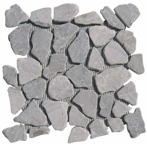 Vloertegel Light grey marmer scherven getrommeld mixed maten