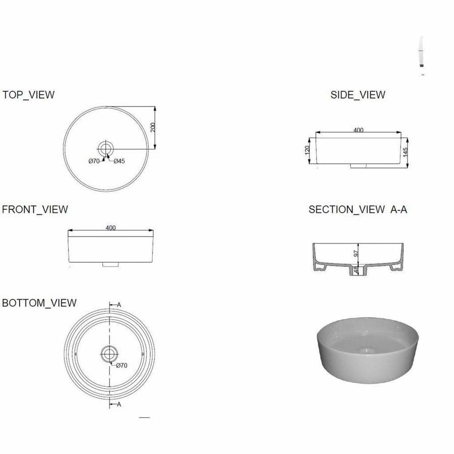 AQS Waskom Mono Opzet Model Rond Diameter 40cm Mat Zwart