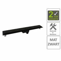 AQS Douchegoot Flens Met Uitneembaar Sifon 70x7x6.7cm RVS Mat Zwart