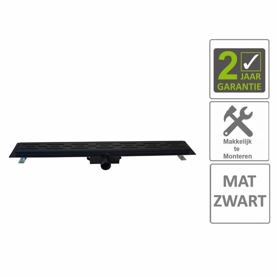 AQS Douchegoot Flens Met Uitneembaar Sifon 80x7x6.7cm RVS Mat Zwart
