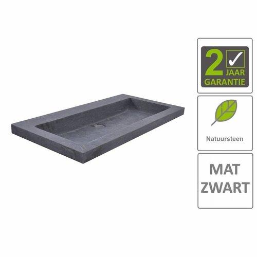 AQS Wastafel Hardsteen 80x46x5 cm 0 Kraangaten Mat Zwart
