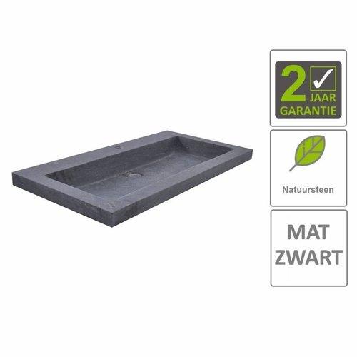 AQS Wastafel Hardsteen 80x46x5 cm 1 Kraangat Mat Zwart