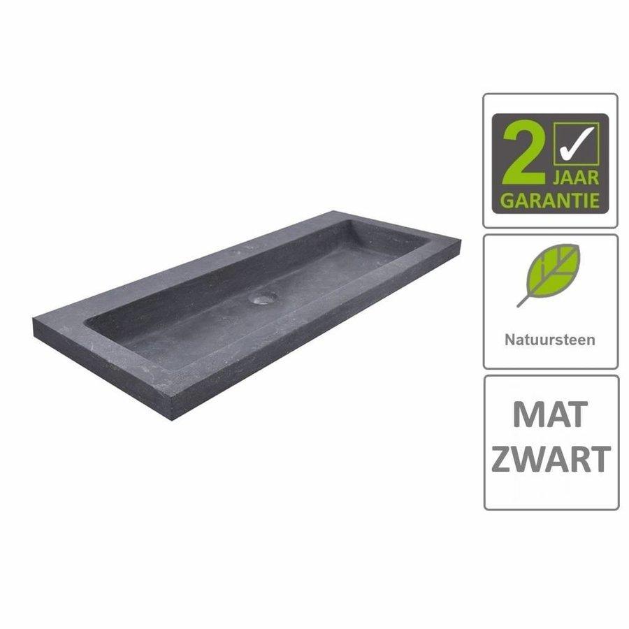 AQS Wastafel Hardsteen 100x46x5 cm 1 Kraangat Mat Zwart