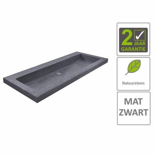 AQS Wastafel Hardsteen 100x46x5 cm 2 Kraangaten Mat Zwart