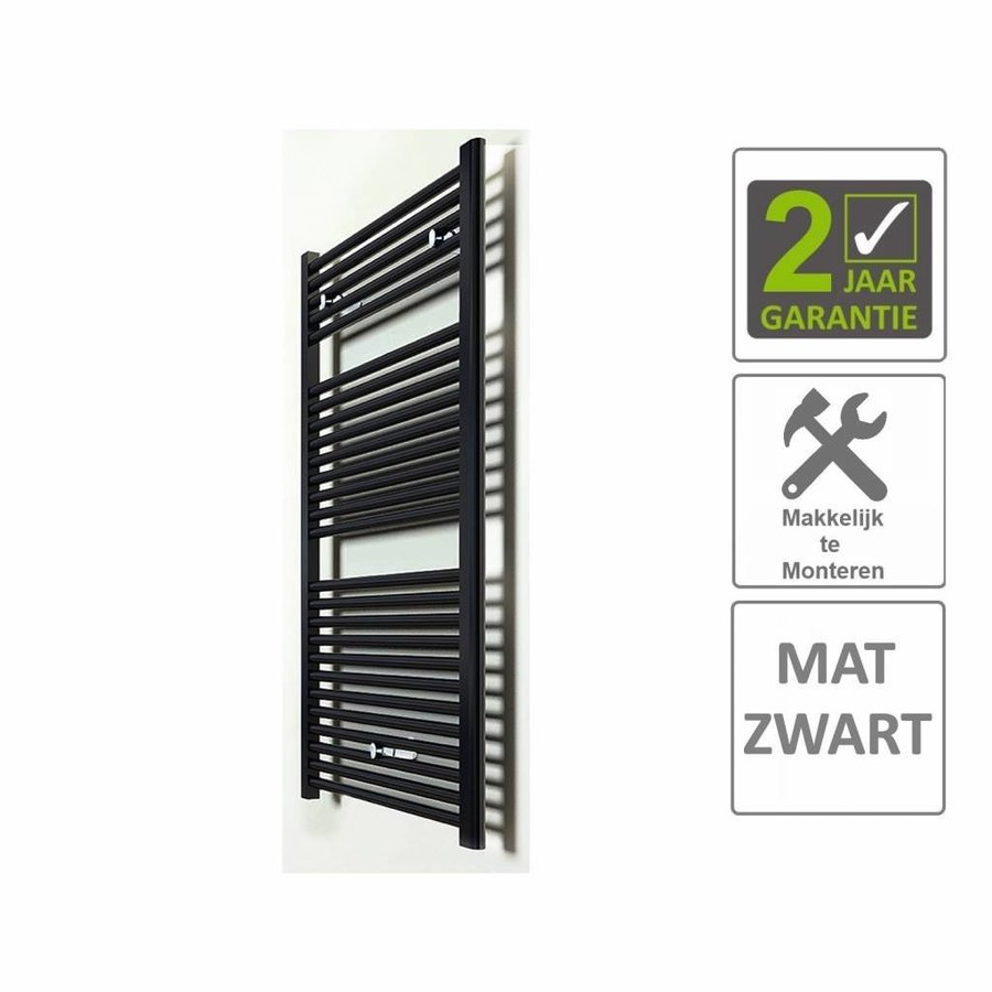 AQS Sierradiator Elvira 60x118 cm Middenonder Aansluiting Mat Zwart