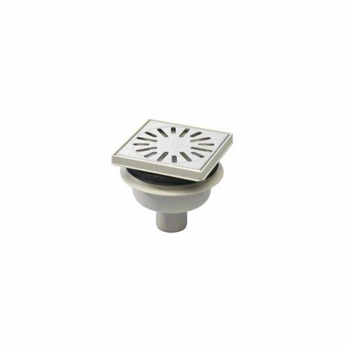 Doucheput Aquaberg ABS Vloerput ABS Opzetstuk RVS Rooster Onderuitlaat 50mm Verstelbaar 146x146mm PPC Reukafsluiter