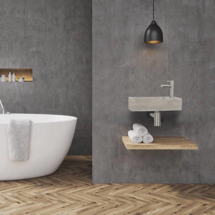Fonteinset Differnz Juti Rechts 38.5x18.5x9 cm Beton Grijs (inclusief mat verchroomde kraan sifon en afvoer)