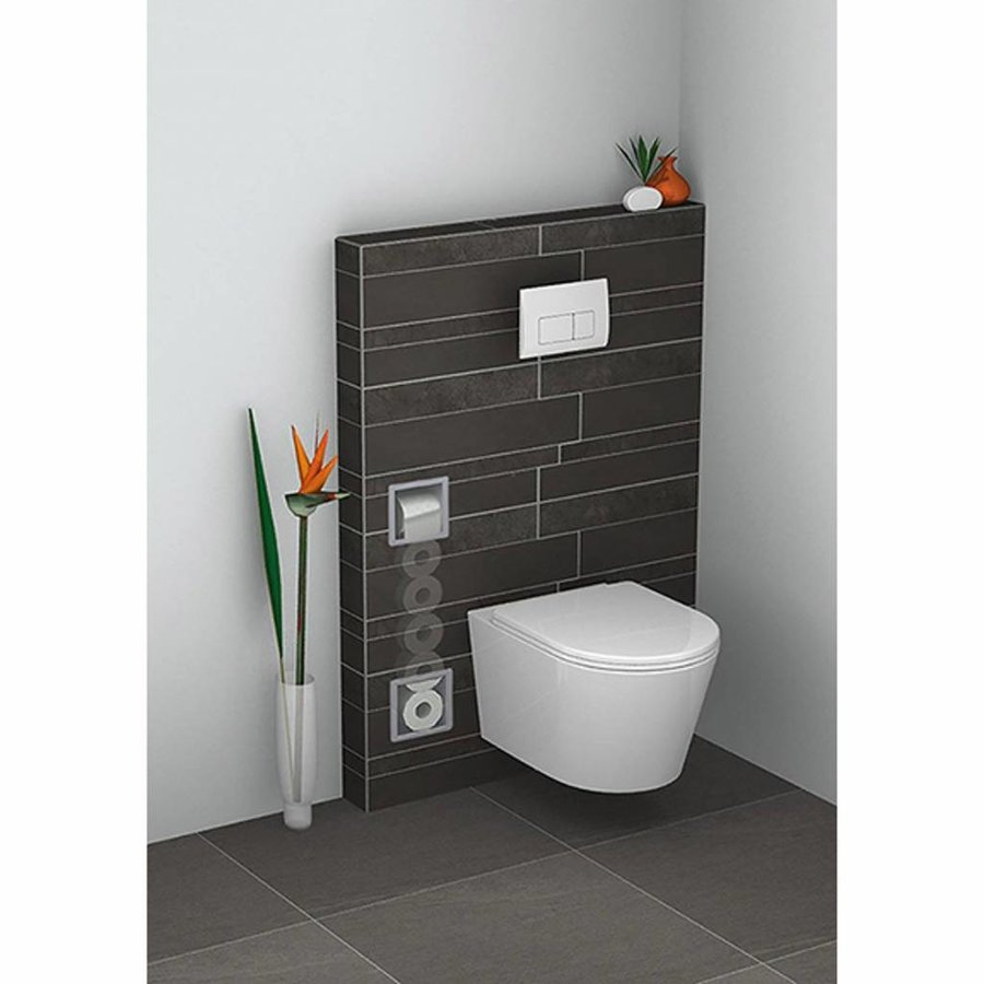 Inbouw Toiletrolhouder Wiesbaden met Reserve Rolhouder RVS