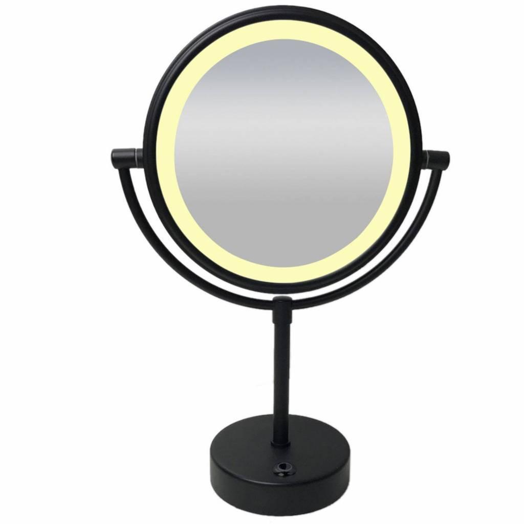 afbeelding vergroten scheerspiegel wiesbaden met led verlichting 20cm staand 5x vergrotend mat zwart