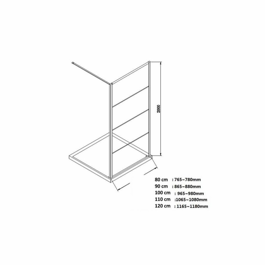 AQS Inloopdouche Frame 100x200 cm 8mm NANO Glas Mat Zwart Raster