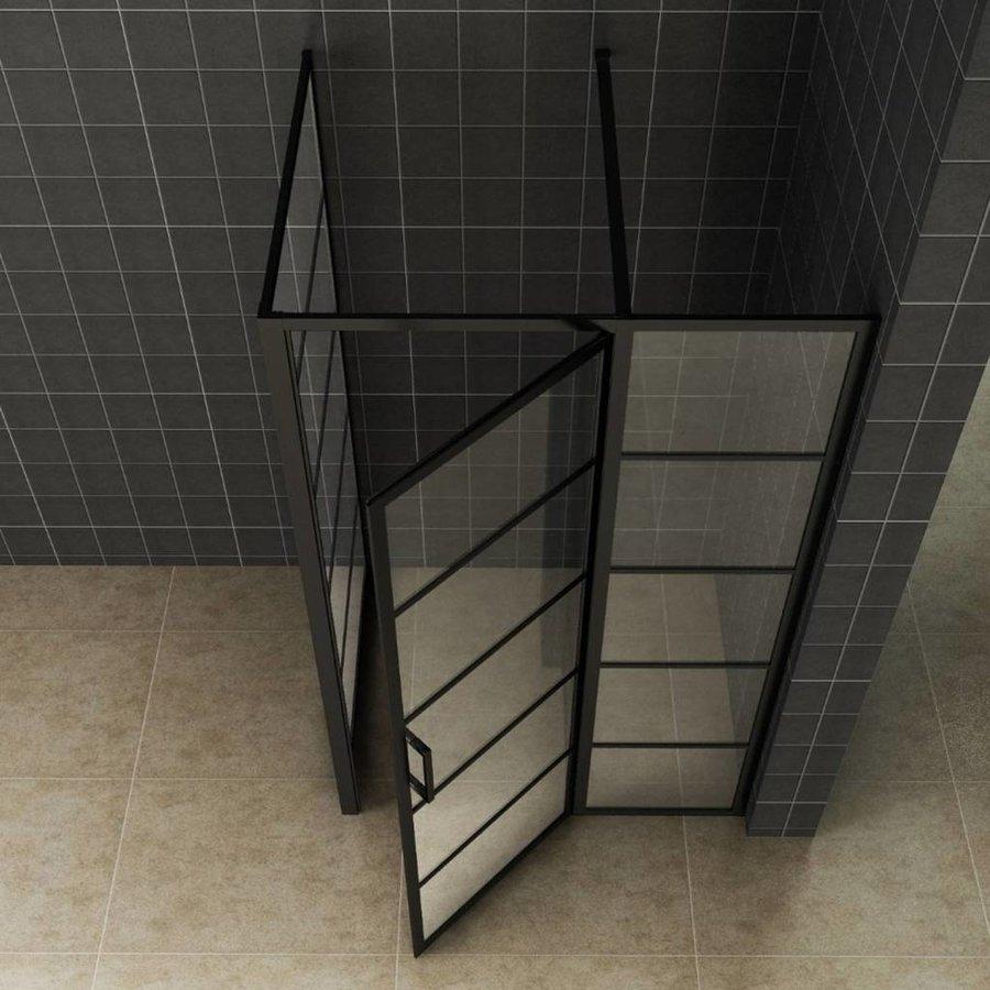 AQS Nisdeur Frame met Vast Paneel 100x200 cm 8 mm NANO Glas Mat Zwart Raster