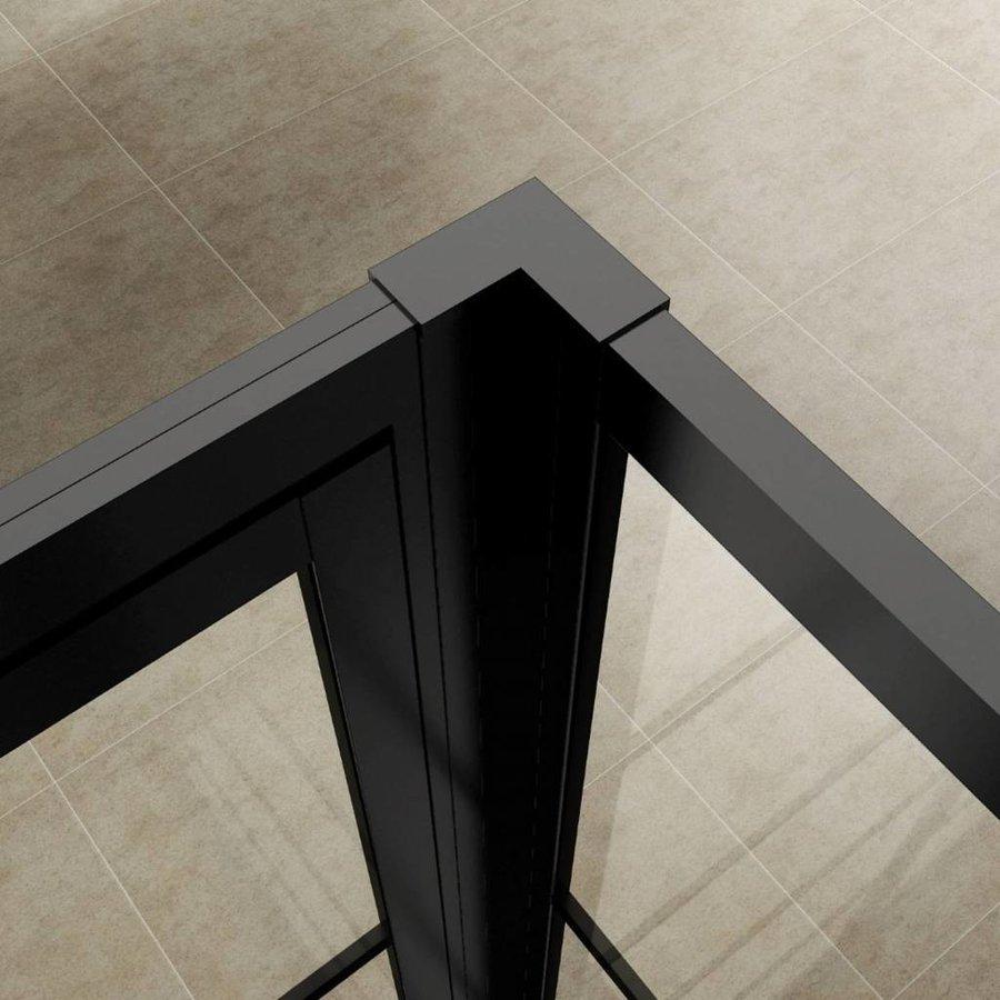 AQS Nisdeur Frame met Vast Paneel 120x200 cm 8 mm NANO Glas Mat Zwart Raster