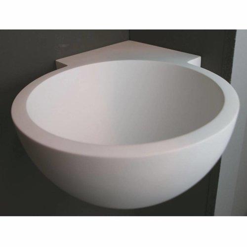 Hoekfontein Luca Sanitair Rond 28x28x12cm Solid Surface Mat Wit