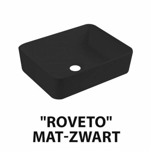 Wastafel Best Design Roveto Opbouw 48x37x13cm Keramiek Mat Zwart