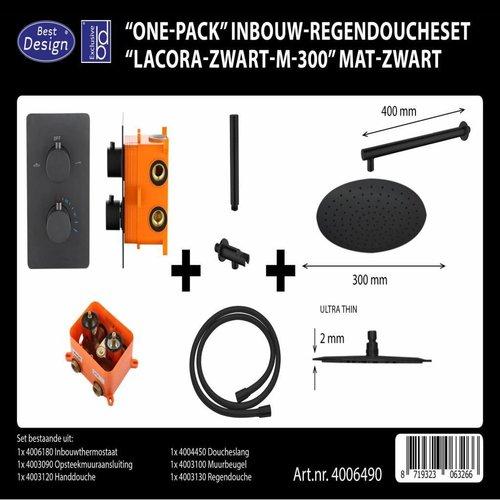 Regendouche Inbouwset Best Design 'One-Pack' Lacora M-300 Mat Zwart